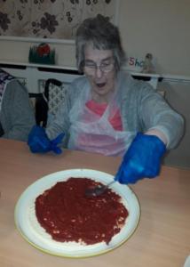 Marian with tomato puree